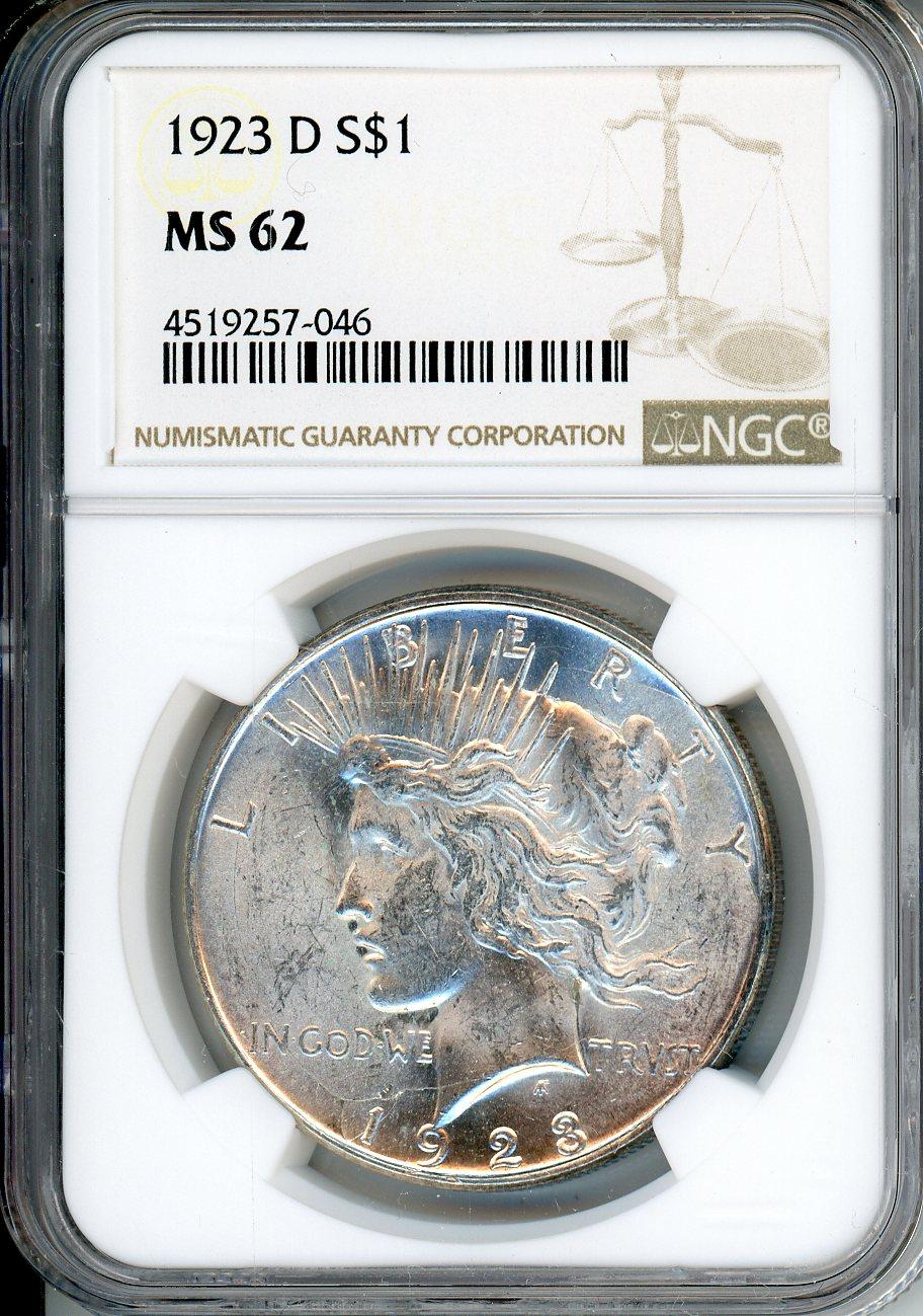 1923 D $1 NGC MS62