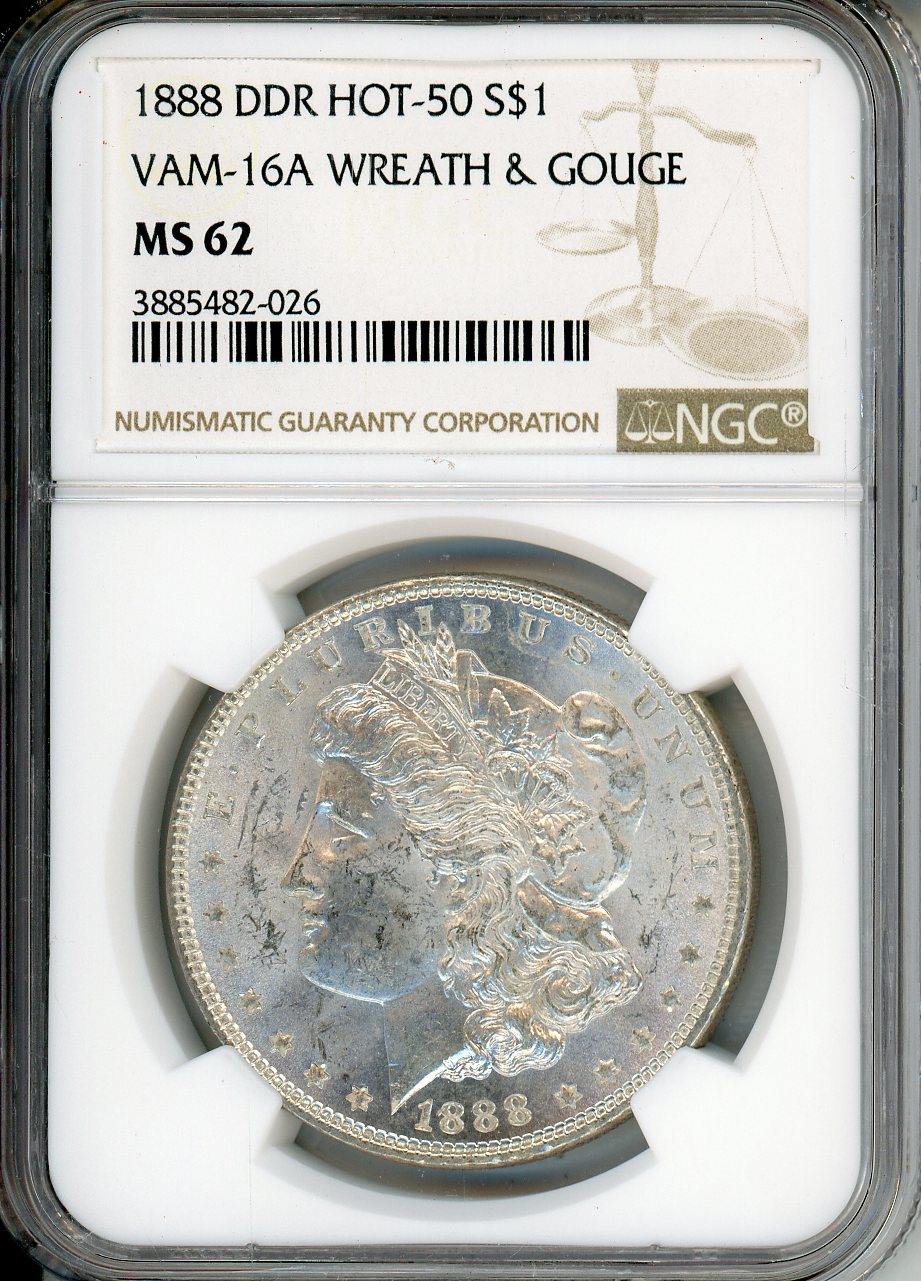 1888 $1 NGC MS62 VAM-16A Wreath & Gouge Hot 50