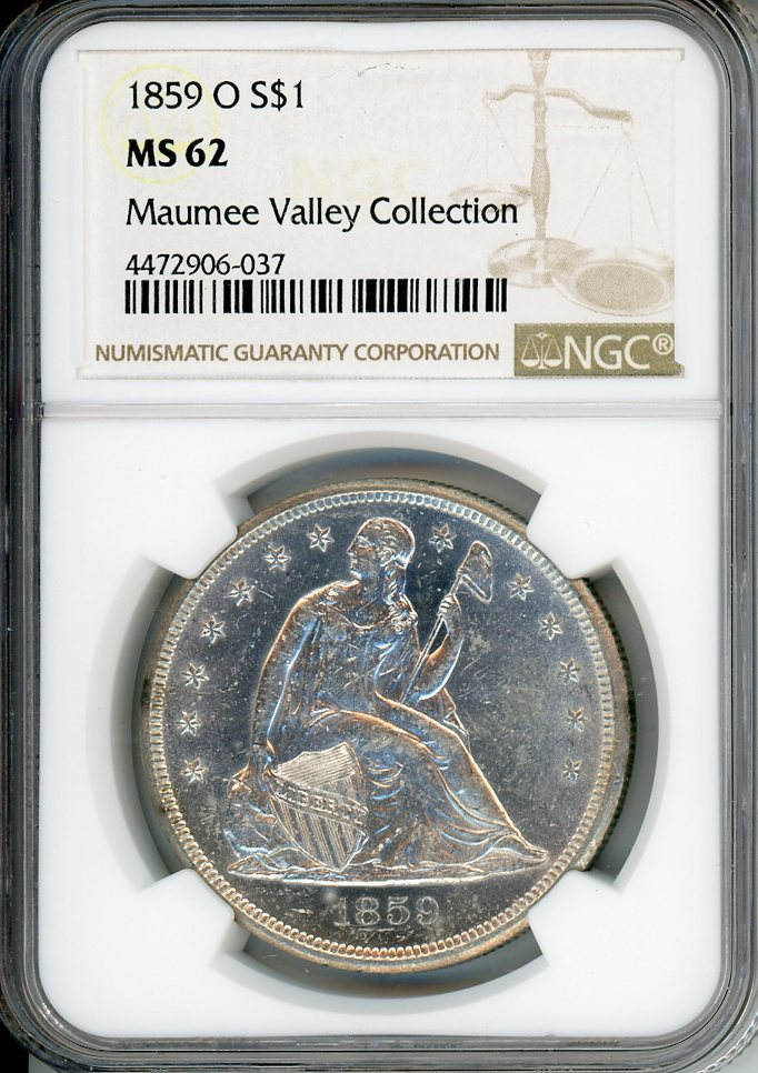 1859 O $1 NGC MS62 MAUMEE VALLEY COLLECTION
