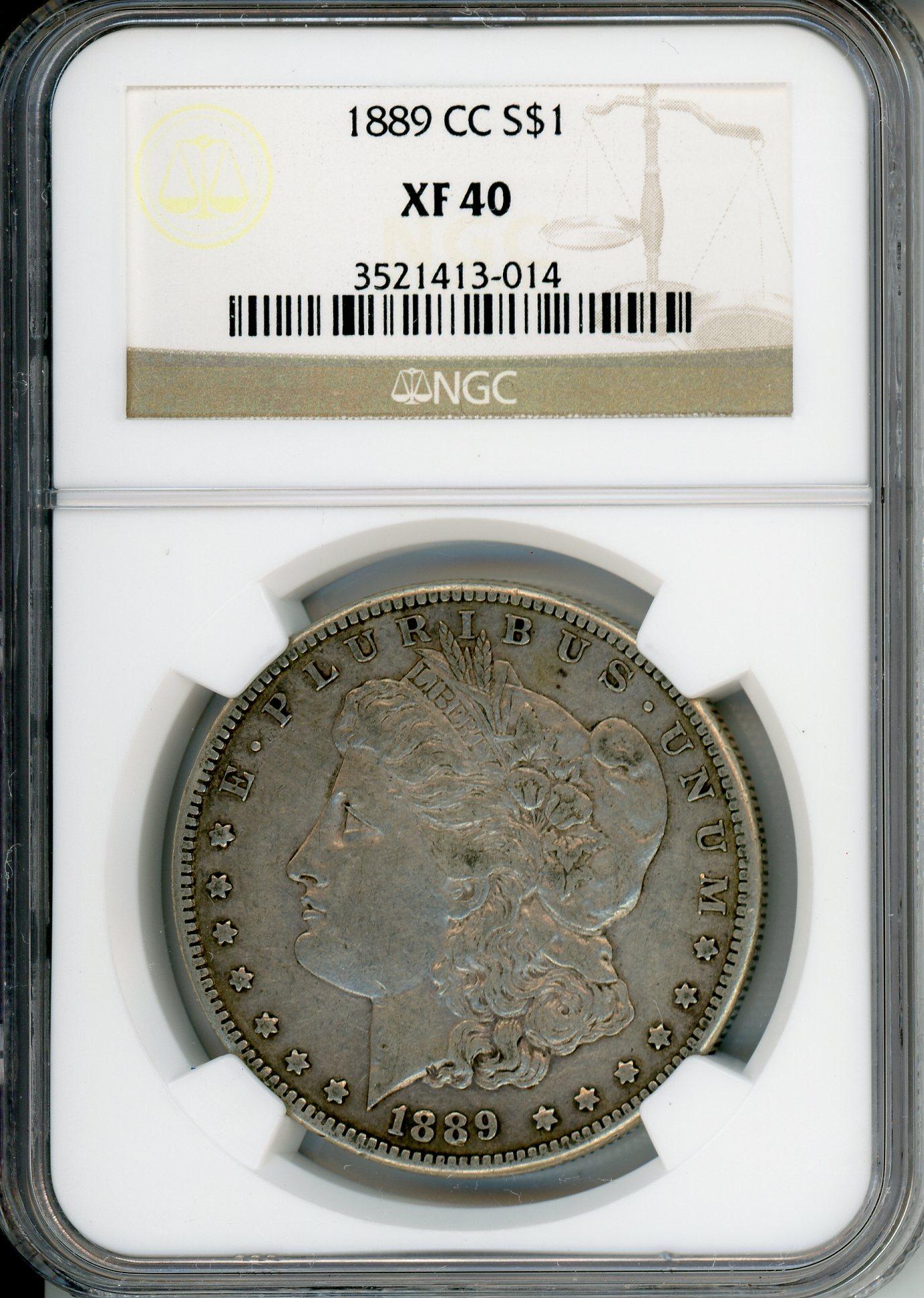 1889 CC $1 NGC XF40