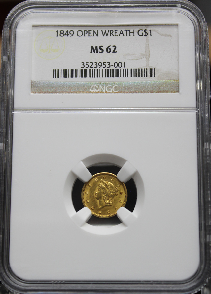 1849 OPEN WREATH $1 NGC MS62