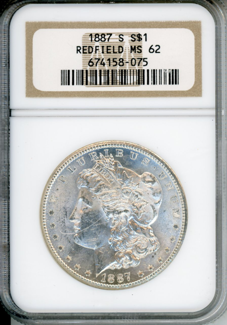 1887 S $1 NGC MS62 REDFIELD