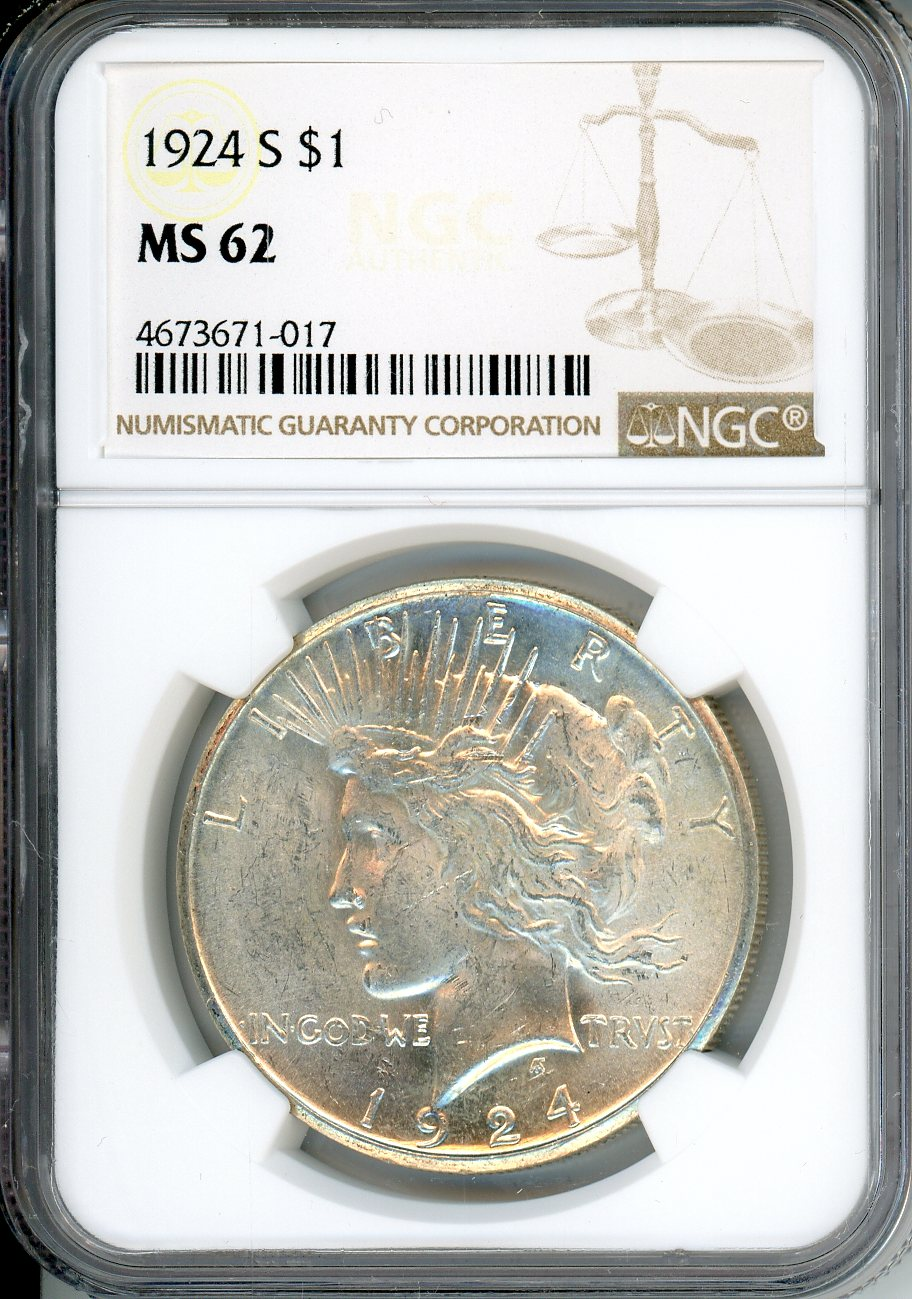 1924 S $1 NGC MS62
