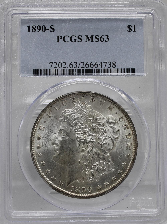 1890 S $1 PCGS MS63