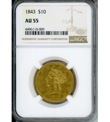 PMJ Coins Liberty Gold 1843 $10 NGC AU55