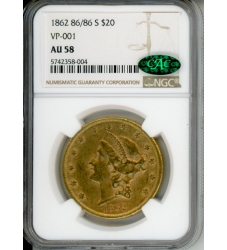 PMJ Coins Liberty Gold 1862 86/86 S $20 NGC AU58 VP-001 CAC