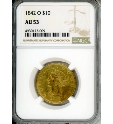 AU 53 Coin $10 Liberty Gold 1842 O $10 NGC AU53
