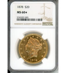 PMJ Coins Liberty Gold 1878 $20 NGC MS60★