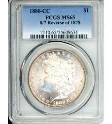PMJ Coins Morgan Dollars 1880 CC $1 PCGS MS65 8/7 REVERSE OF 1878