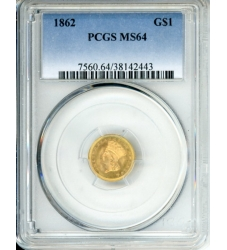 PMJ Coins $1 Gold 1862 $1 PCGS MS64