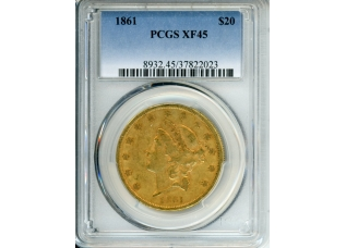 PMJ Coins 1861 $20 PCGS XF45