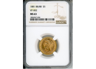 PMJ Coins 1881 88/88 $5 NGC MS63 VP-002