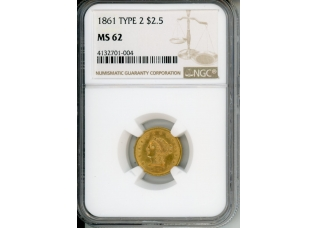 PMJ Coins 1861 $2.5 NGC MS62 TYPE 2