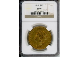 PMJ Coins 1861 $20 NGC XF40
