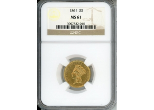 PMJ Coins 1861 $3 NGC MS61