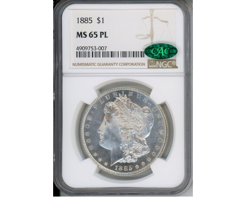 PMJ Coins & Collectibles, Inc. 1885 $1 NGC MS65PL CAC