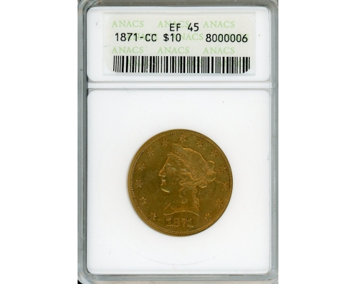 PMJ Coins & Collectibles, Inc. 1871 CC $10 Gold ANACS EF45
