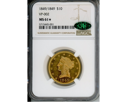 PMJ Coins & Collectibles, Inc. 1849/1849 $10 NGC MS61★ VP-002 CAC
