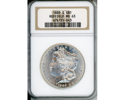 PMJ Coins 1889 S $1 NGC MS63 REDFIELD