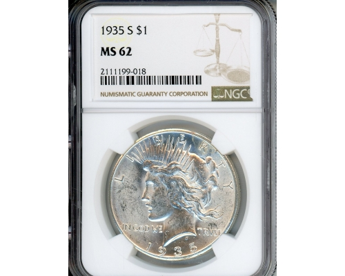 PMJ Coins & Collectibles, Inc. 1935 S $1 NGC MS62