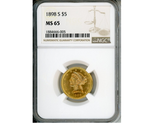 PMJ Coins 1898 S $5 NGC MS65