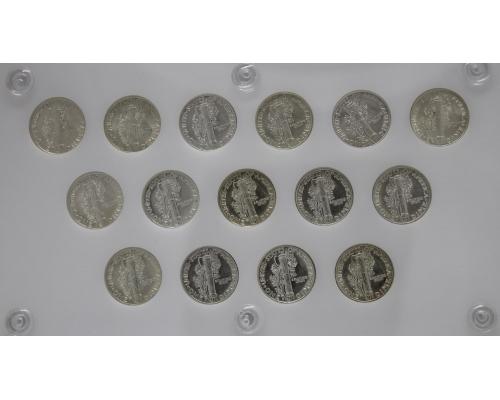United States Coins BU Mercury Dime Short set 1941-45