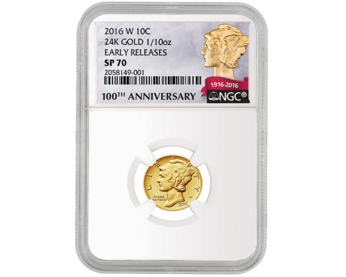 PMJ Coins 2016 W Mercury Dime Centennial Gold NGC MS70 Early Release