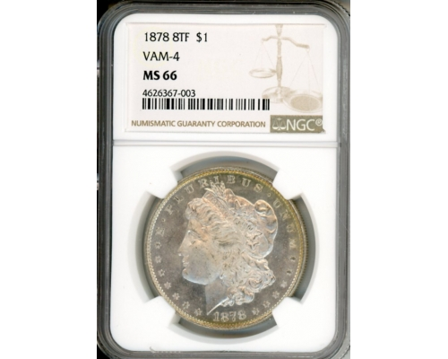 PMJ Coins 1878 8TF $1 MS66 VAM-4