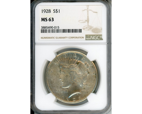 PMJ Coins 1928 $1 NGC MS63