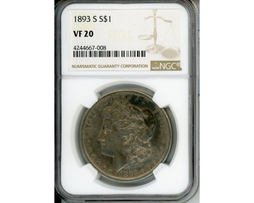 PMJ Coins 1893 S $1 NGC VF20