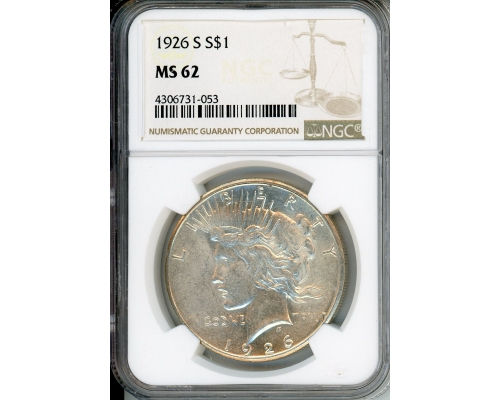 PMJ Coins 1926 S $1 NGC MS62