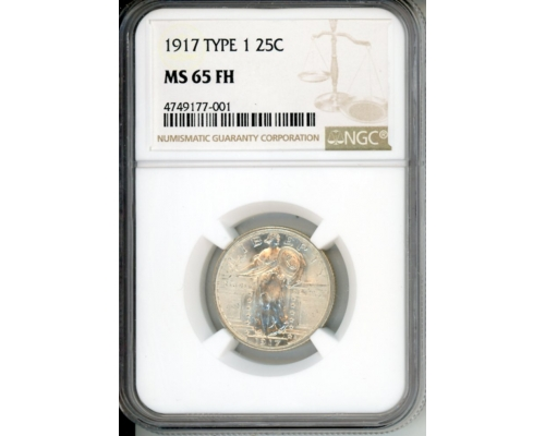PMJ Coins 1917 25C NGC MS65FH TYPE 1