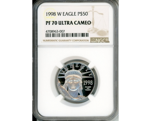 Eagle Coin 1998 W $50 NGC PF70UCAM