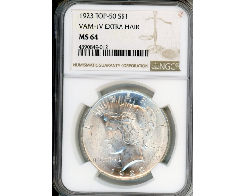 PMJ Coins & Collectibles, Inc. 1923 $1 NGC MS64 VAM-1V Extra Hair