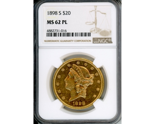 PMJ Coins 1898 S $20 NGC MS62PL