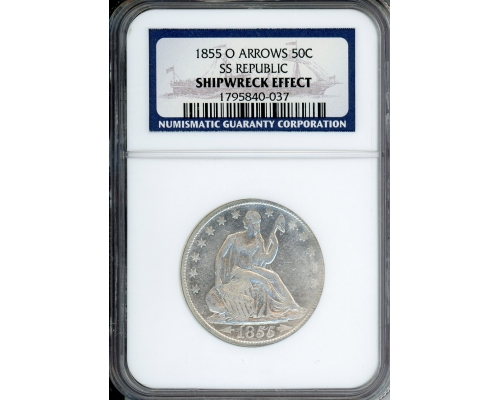 PMJ Coins & Collectibles, Inc. 1855 O 50C Arrows NGC Shipwreck Effect SS Republic