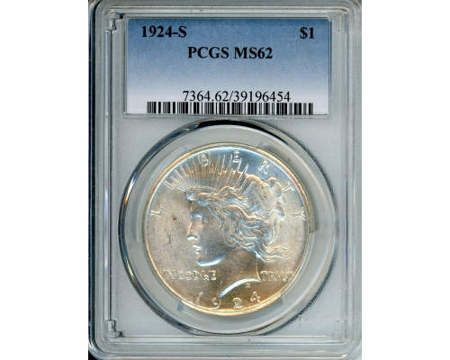 PMJ Coins 1924 S $1 PCGS MS62