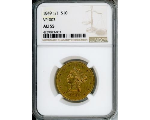 PMJ Coins 1849 1/1 $10 NGC AU55 VP-003