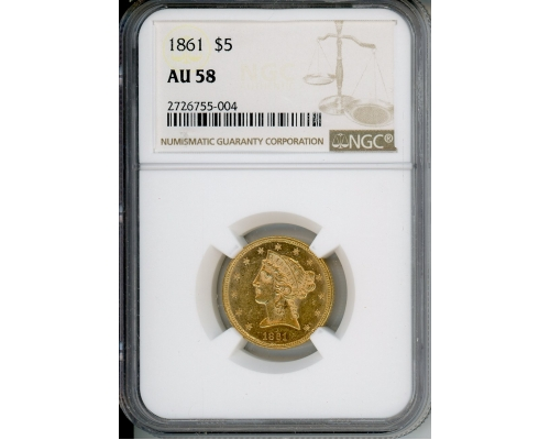 PMJ Coins & Collectibles, Inc. 1861 $5 NGC AU58