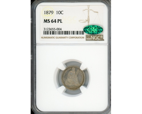 PMJ Coins & Collectibles, Inc. 1879 10C NGC MS64PL CAC
