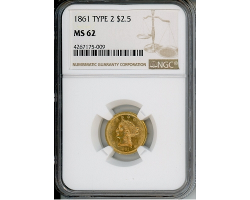PMJ Coins & Collectibles, Inc. 1861 $2.5 NGC MS62 TYPE 2