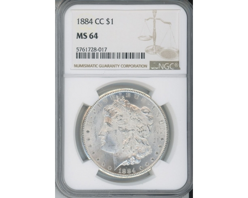 PMJ Coins 1884 CC $1 NGC MS64