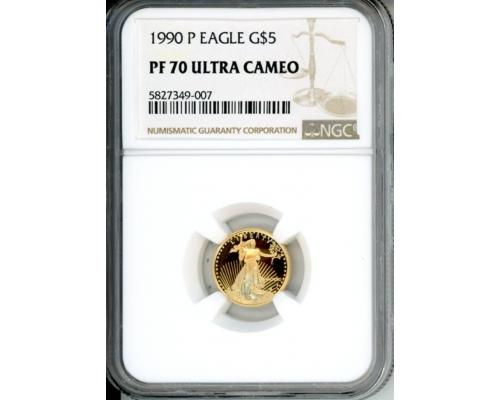 PMJ Coins 1990 P $5 NGC PF70UCAM