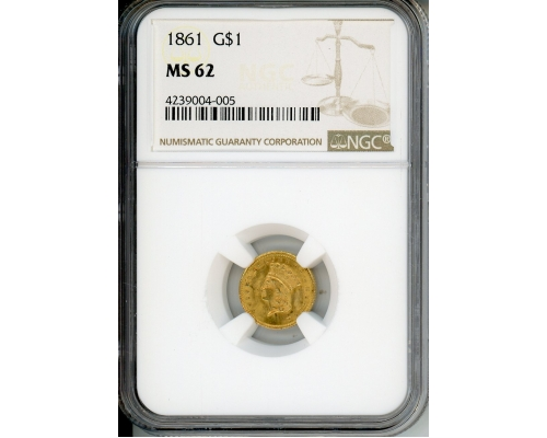 PMJ Coins & Collectibles, Inc. 1861 $1 Gold NGC MS62