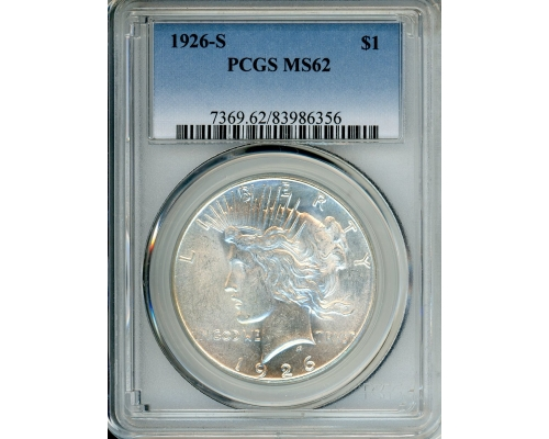 PMJ Coins 1926 S $1 PCGS MS62