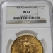 1908 $20 St. Gaudens NGC MS62 No Motto